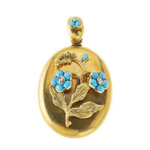 A late Victorian gold, turquoise cabochon and rose-cut