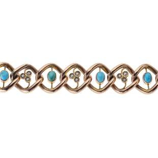 An Edwardian 9ct gold turquoise and split pearl