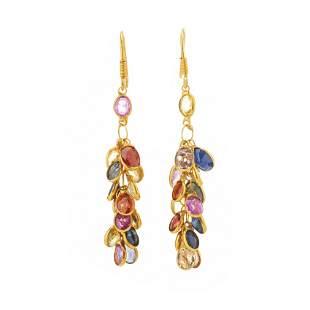 A pair of 14ct gold vari-hue sapphire fringe earrings,