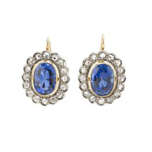 A pair of 9ct gold synthetic sapphire and rose-cut
