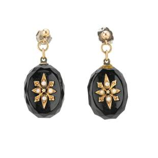 A set of late Victorian gold, split pearl and onyx