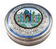Mozafarian, a large Persian silver and enamelled box,