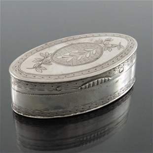 A Napoleonic French Provincial silver snuff box, AM,