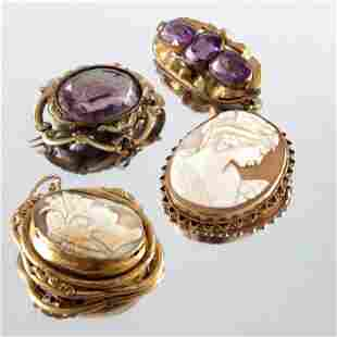 Four Victorian and later yellow metal and gold