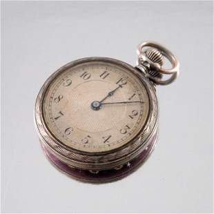 A silver and enamelled fob watch, the purple guilloche