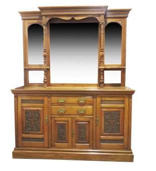 A large Victorian walnut mirror backed sideboard, circa