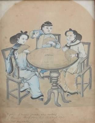 China (19th century), Hong Kong natives playing cards,