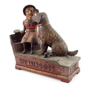 A Victorian cast iron Speaking Dog Bank mechanical