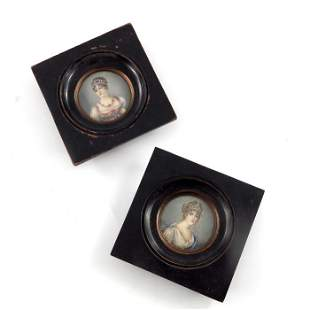A pair of 19th century French portrait miniatures, of