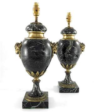 A pair of 20th century French green veined marble urn