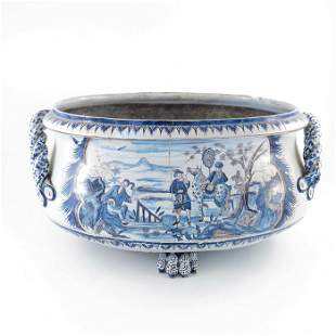A Delft probably French Nevers blue and white manganese