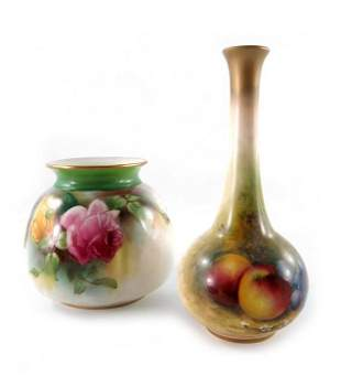 E Townsend for Royal Worcester, a fruit painted vase,