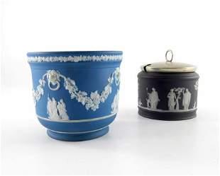 Two Wedgwood Jasperware pots, circa 1850, one of