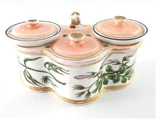A Minton porcelain botanical painted ink stand, circa