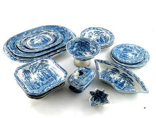 A Davenport blue and white part dinner service,
