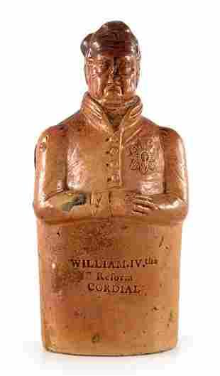 A salt glazed stoneware Reform flask, modelled as