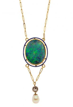 An early 20th century gold, black opal cabochon and