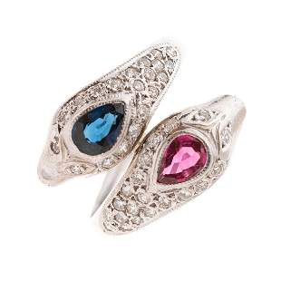 A sapphire, ruby and brilliant-cut diamond snake ring,