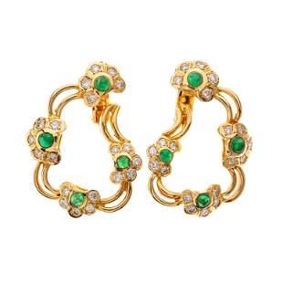 A pair of 18ct gold emerald cabochon and brilliant-cut