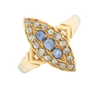 A late Victorian 18ct gold sapphire and rose-cut