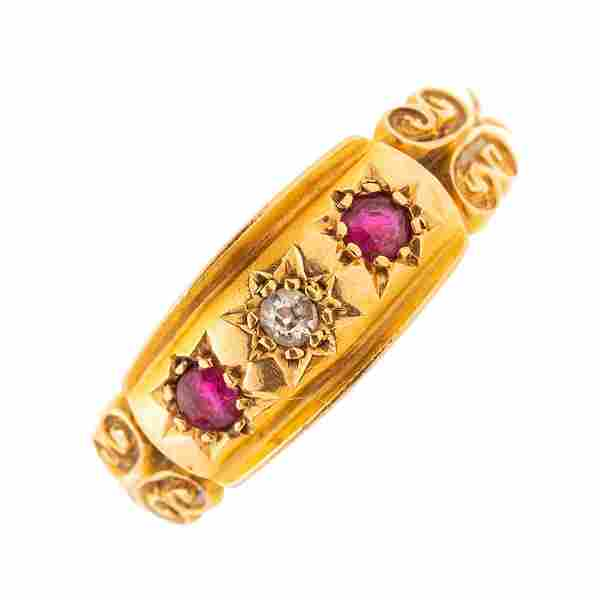 An early 20th century 18ct gold ruby and old-cut