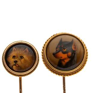 Two mid Victorian gold and enamel dog stickpins,