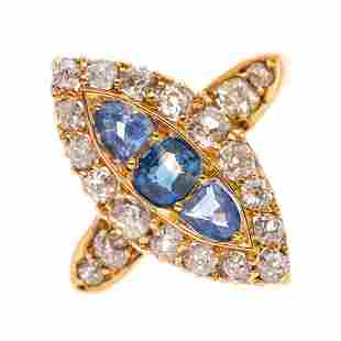 A late Victorian 18ct gold vari-shape sapphire and