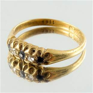 A late Victorian 18ct gold, sapphire and rose-cut