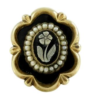 A mid Victorian gold, onyx cameo forget-me-not and