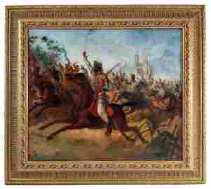 Jules Van Imschoot (Flemish, 1821-1884), battle scene o