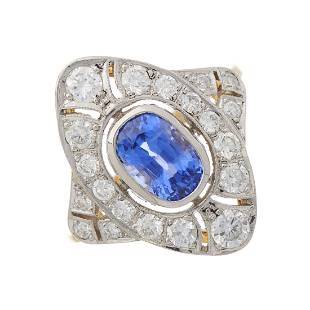 An 18ct gold and platinum, sapphire and