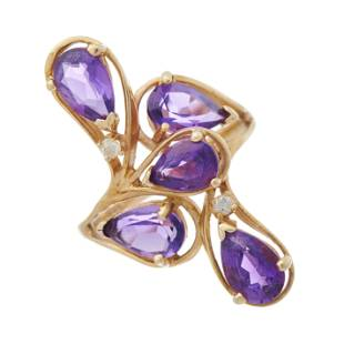 A 14ct gold pear-shape amethyst and bril
