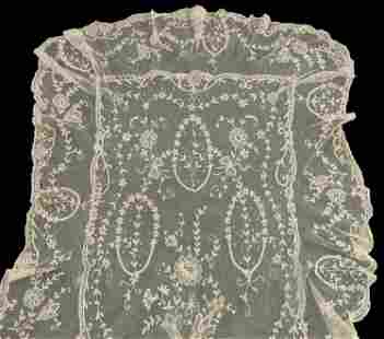 Edwardian frilled long tambour embroider