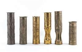 6 PCS WWI Trench Art Artillery Shells