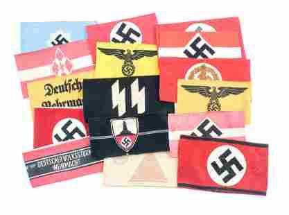 16 German WWII Third Reich Arm Bands