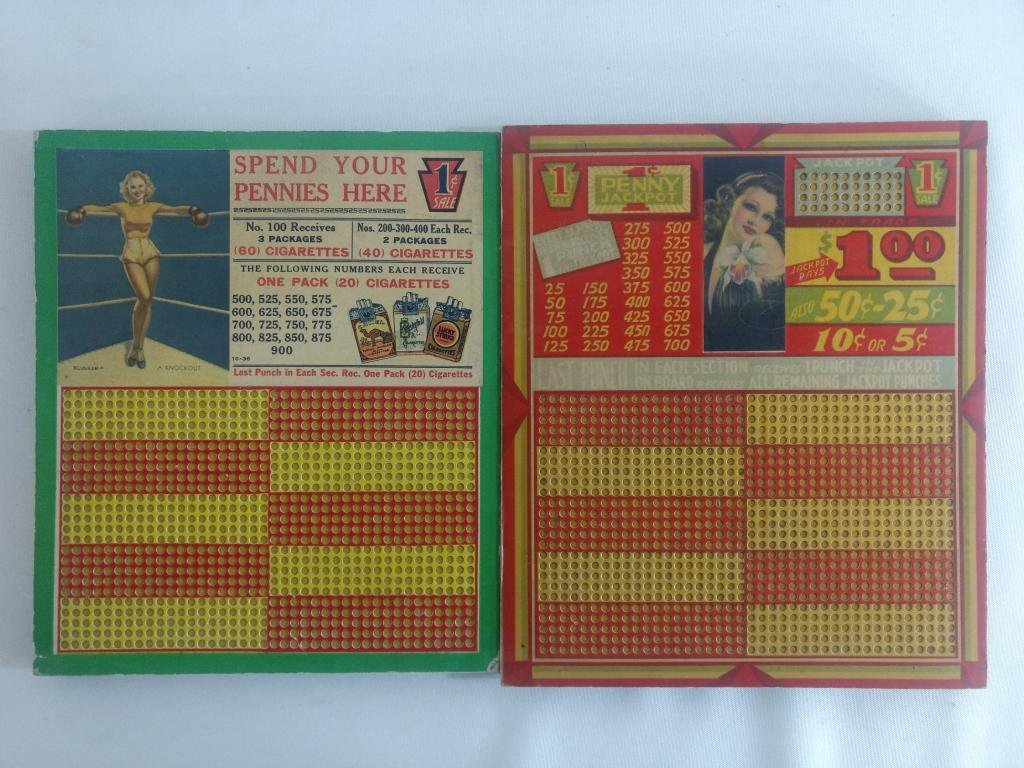 2pc Vtg Pin-Up Girl Punch Cards w/ Boxing Theme