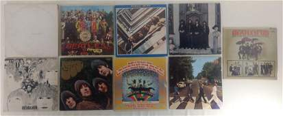 9pc Vtg Beatles Record Albums w/ White