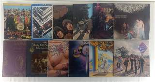 12pc Vtg Record Album Lot w/ Beatles, Rock