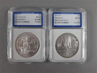 2pc Commemorative Silver Dollars Lot