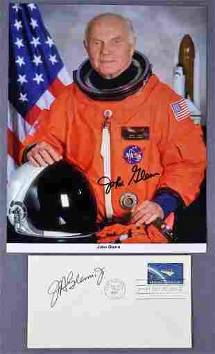 John Glenn Signed Mercury & Space Shuttle Lithograph &