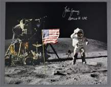 John Young Signed Apollo 16 'Jumping Salute' Photograph