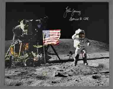 John Young Signed Apollo 16 'Jumping Salute' Photograph