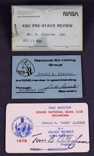 Deke Slayton Personal Cards & Pass