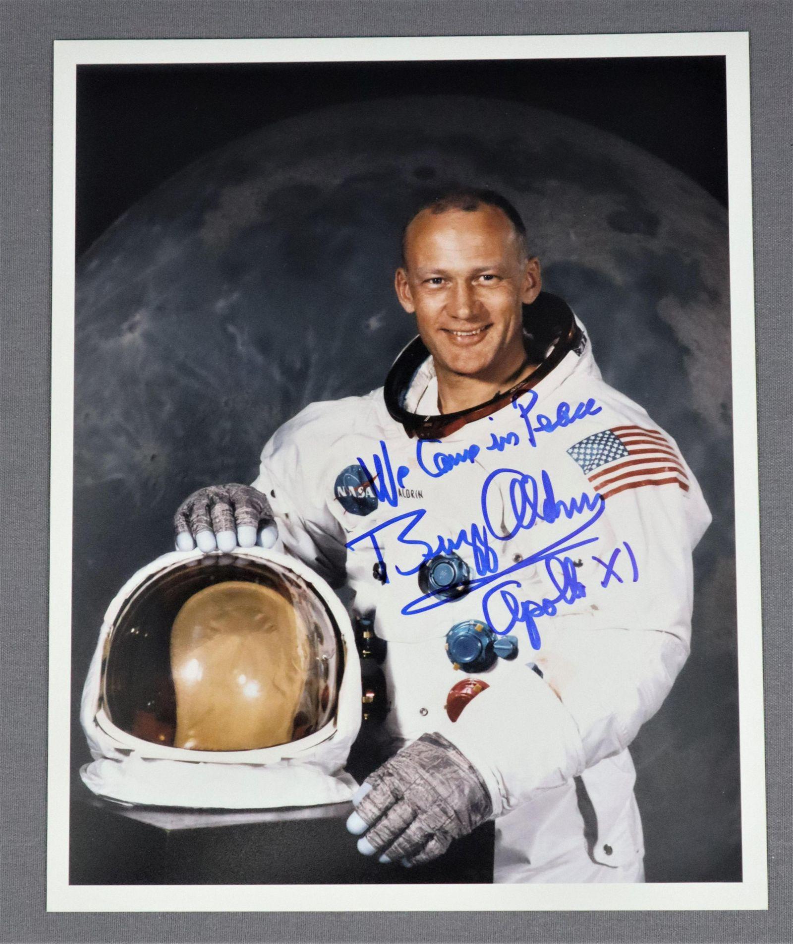 Buzz Aldrin Signed White Space Suit Portrait Photograph