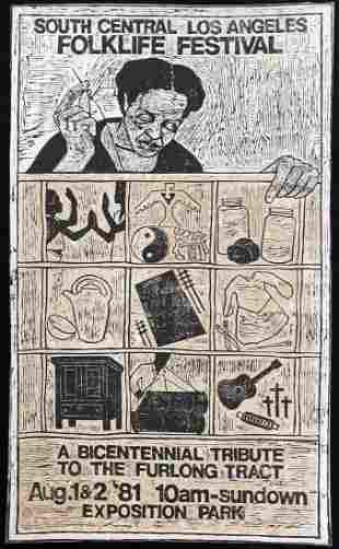 Kerry James Marshall, African American, 1981 Linocut