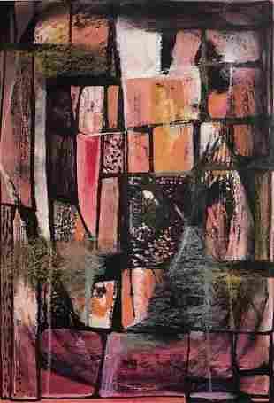 Dorr Bothwell, Circa 1950, Abstract Surrealist Gouache