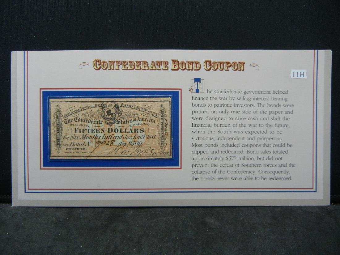 1864 CONFEDERATE War bond $15 note. Redeemable in 1884 - 3