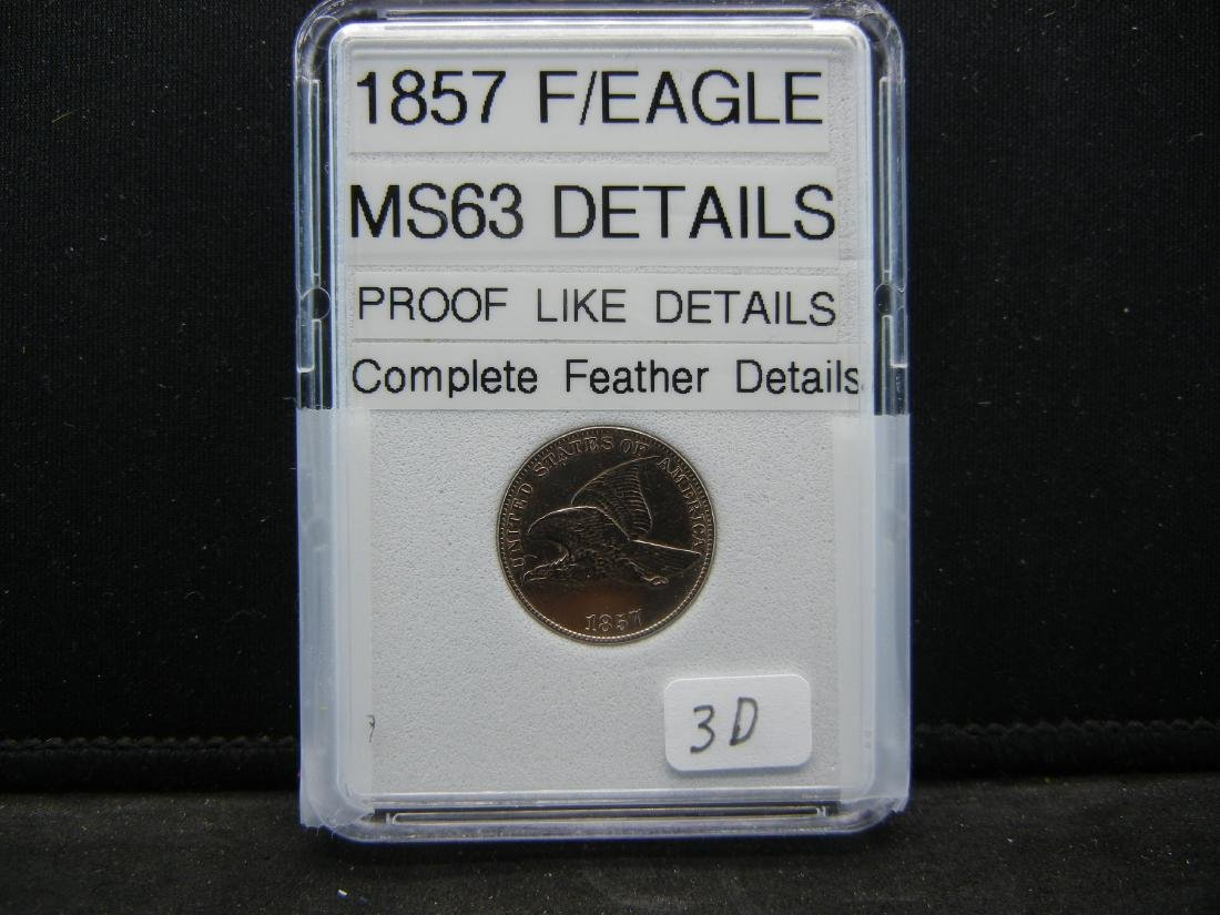 1857 F/Eagle MS63 Proof Like Details. Complete Feather - 3