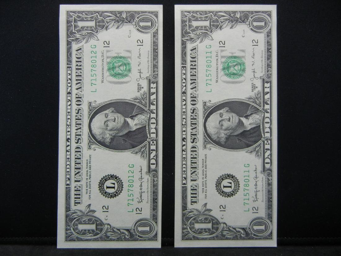 2 1963 B $1 Barr Notes UNC Consecutive Serial Numbers