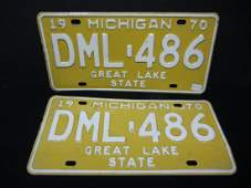 1970 matched pair set of Michigan License Plates in